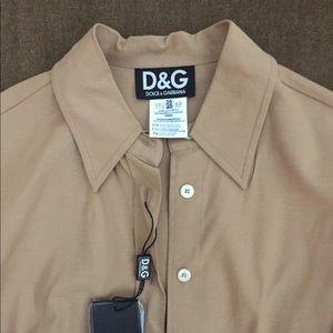 NWT- D & G Khaki Button Down Blouse